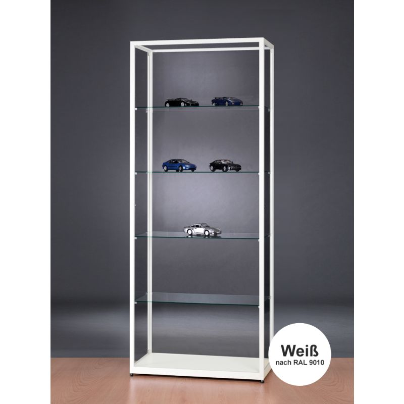 glasvitrine wei abschlie bar standvitrine 80 cm breit glasvitrinen alu. Black Bedroom Furniture Sets. Home Design Ideas