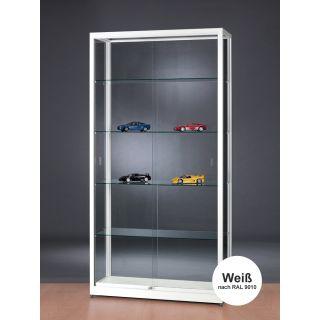 SV1000A9 Vitrine Weiß abschließbar Ausstellungsvitrine Präsentationsvitrine aus Glas und Alu