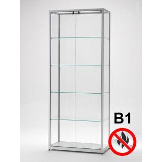 SV800A7B1 Brandschutz Vitrine abschließbar Glas Alu Silber