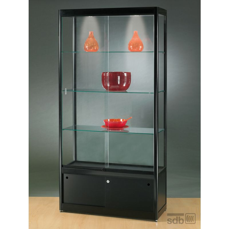 sv1000a0hu vitrine mit unterschrank alu schwarz mit. Black Bedroom Furniture Sets. Home Design Ideas